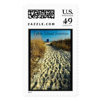 Tybee Island, Ga - beach footprints. Postage Stamps