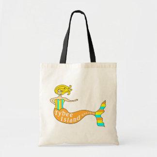 Tybee Island Georgia Mermaid Tote Bags