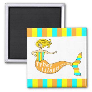 Tybee Island, Georgia Mermaid Square Magnets