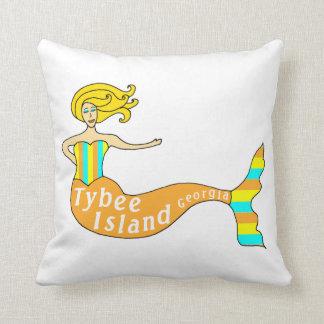 Tybee Island, Georgia Mermaid Throw Pillow