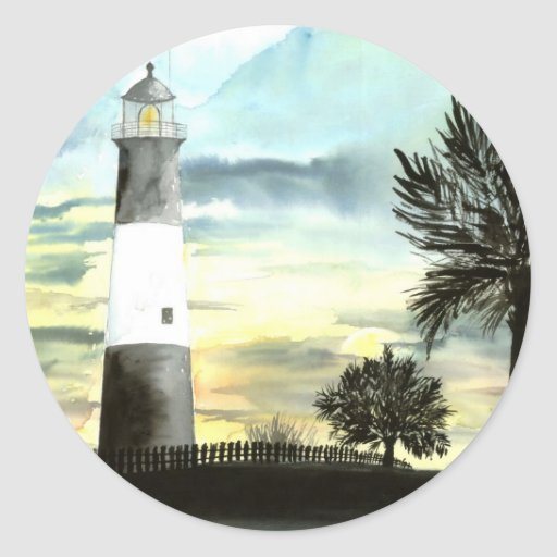 TYBEE Island Lighthouse art collectible gifts Round Stickers