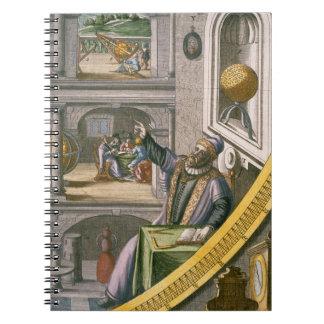 Tycho Brahe (1546-1601) envejeció 40, entre su ast Libretas