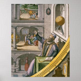 Tycho Brahe (1546-1601) envejeció 40, entre su ast Poster