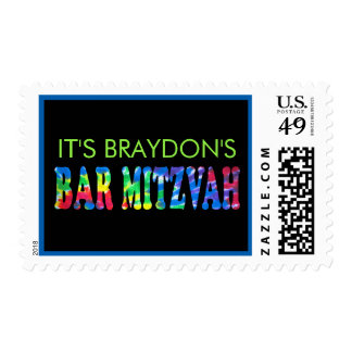 TYE DYE Bar Mitzvah Invitation Matching Stamp