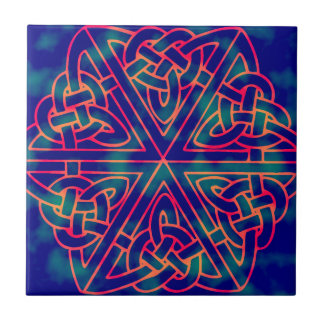 Tye-dye Celtic Knot Ceramic Tile