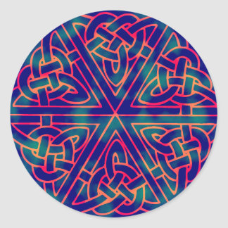 Tye-dye Celtic Knot Classic Round Sticker
