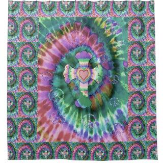 Tye Dye Cross Heart Peace Symbol Shower Curtain