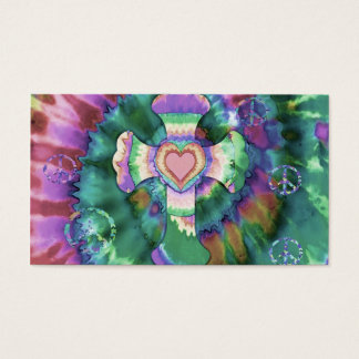 Tye Dye Cross Pink Colors Business Card