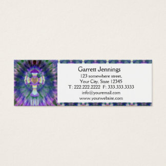 Tye Dye Cross with Heart Center in Purple, Blue Mini Business Card