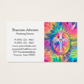 Tye Dye Cross with Heart in Center Business Card