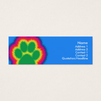 Tye Dye Paw Print Mini Business Card