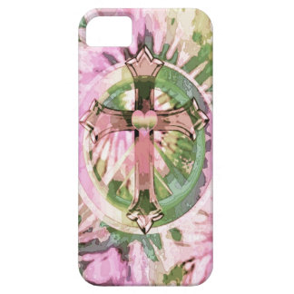 Tye dye rainbow cross with heart by Amelia Carrie. iPhone SE/5/5s Case