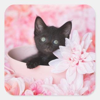 Tye Kitten Pink Floral Square Sticker