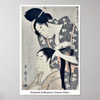 Tying hair by Kitagawa, Utamaro Ukiyoe Poster