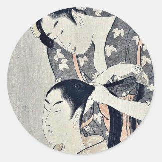 Tying hair by Kitagawa, Utamaro Ukiyoe Classic Round Sticker