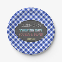 Tying the Knot BBQ Gingham Engagement Paper Plate  sc 1 st  Zazzle & Engagement Bbq Plates | Zazzle
