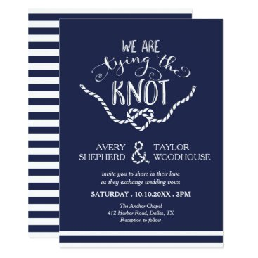 Valentines Themed Tying the Knot Calligraphy Wedding Card
