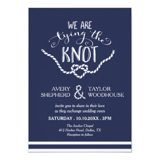 Tying the Knot Calligraphy Wedding Card