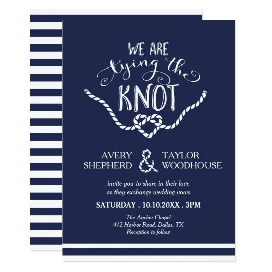 Great Tying The Knot Calligraphy Wedding Invitation