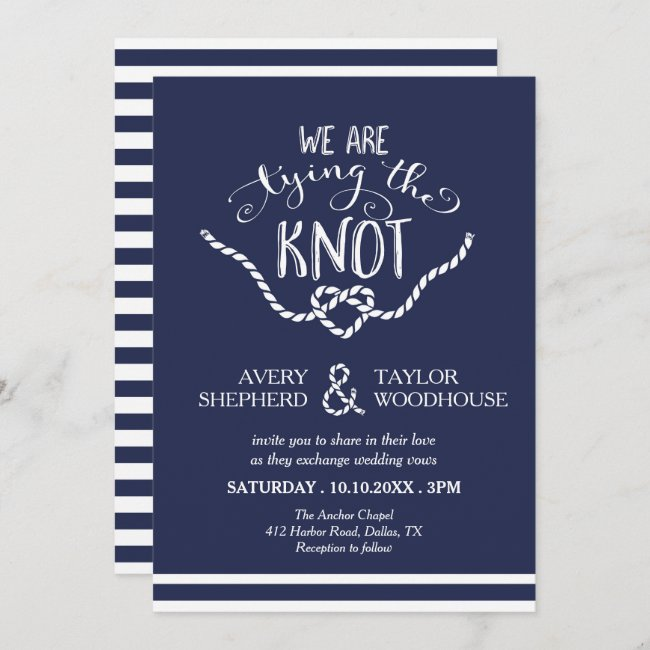Tying the Knot Calligraphy Wedding Invitation