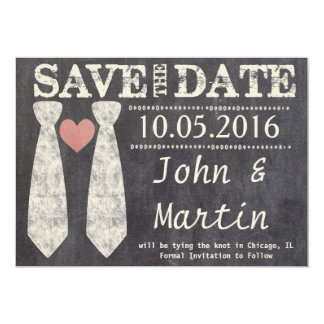 Tying the Knot Chalkboard Gay Save the Date Card