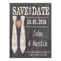 Tying the Knot Chalkboard Gay Save the Date Magnetic Invitation