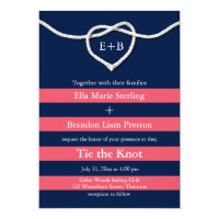 Tying the Knot Coral & Navy Wedding Invitation