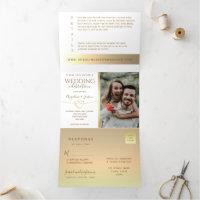 Tying The Knot Elegant Gold & White Wedding Photo Tri-Fold Invitation