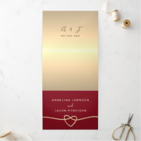 Tying The Knot Elegant Red and Gold Wedding Photo Tri-Fold Invitation
