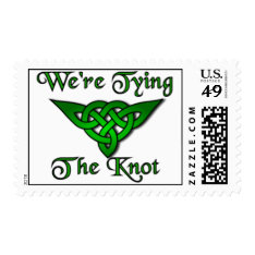 Tying The Knot Green Postage at Zazzle