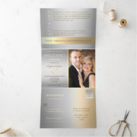Tying The Knot Luxury Silver & Gold Wedding Photo Tri-Fold Invitation