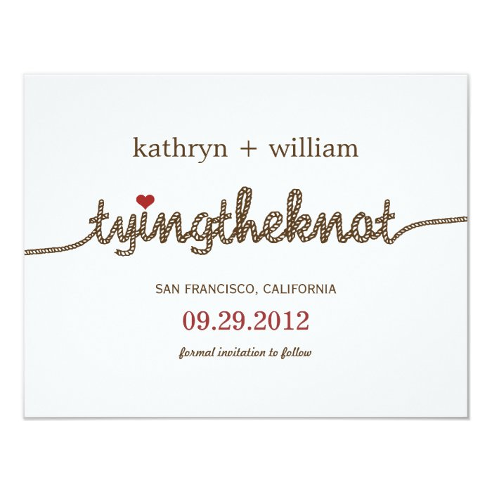 tying the knot modern save the date announcement zazzle