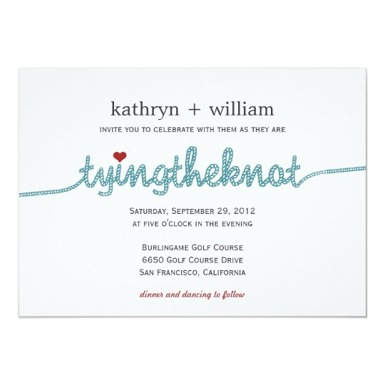 Tying the Knot Modern Wedding Invitation Zazzlecom