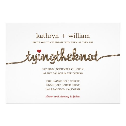 Tying the Knot Modern Wedding Invitation Cards