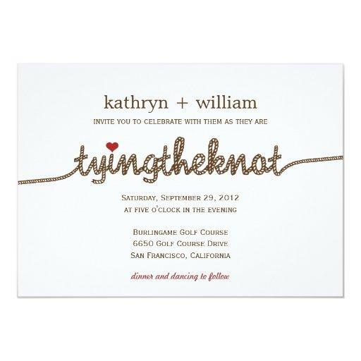 tying the knot modern wedding invitation zazzle With wedding invitation wording tie the knot