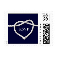 Tying the Knot Navy & White RSVP Stamp