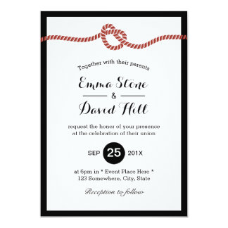 Tying the Knot Red Rope Heart Simple Wedding Card