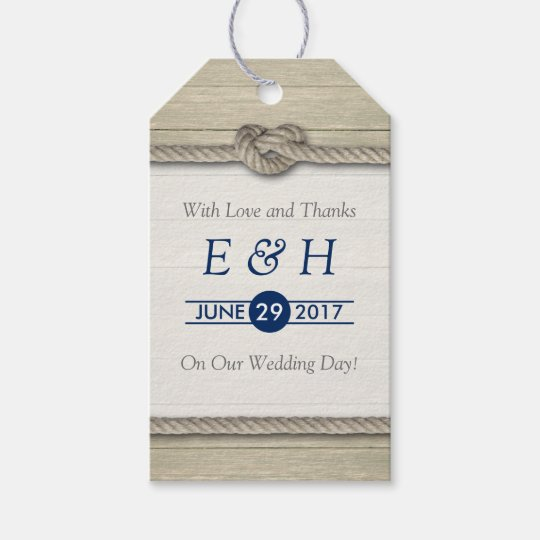 Tying The Knot Rustic Beach Wedding Gift Tags Zazzle