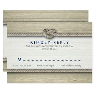 Tying The Knot Rustic Beach Wedding RSVP Card