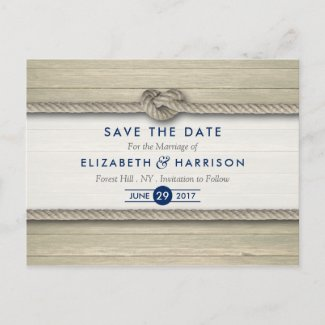 Tying The Knot Rustic Beach Wedding Save The Date Announcement Postcard