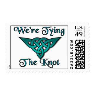 Tying The Knot Teal Postage