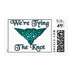 Tying The Knot Teal Postage at Zazzle