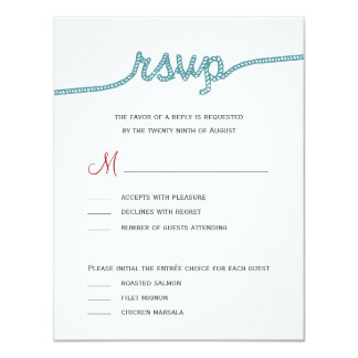"Tying The Knot Wedding RSVP cards 4.25"" X 5.5"" Invitation Card"