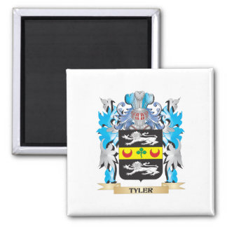 Tyler Coat of Arms - Family Crest 2 Inch Square Magnet