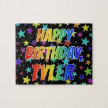 "[ Thumbnail: ""Tyler"" First Name, Fun ""Happy Birthday"" Jigsaw Puzzle ]"