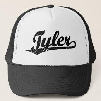 Tyler script logo in black distressed trucker hat