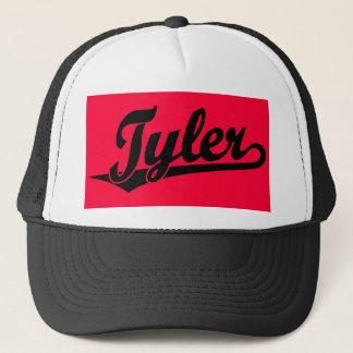Tyler script logo in black trucker hat