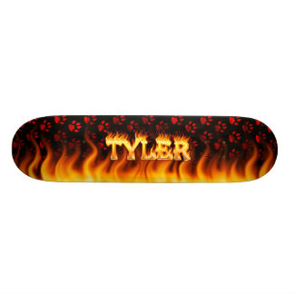 Tyler skateboard fire and flames design.
