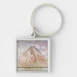 Tympanum depicting Christ the Redemptor Silver-Colored Square Keychain