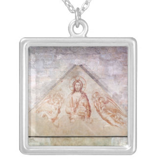 Tympanum depicting Christ the Redemptor Square Pendant Necklace